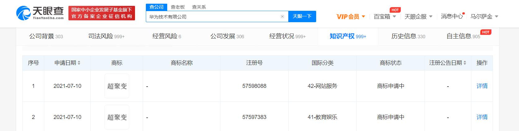 """华为注册""""超聚变""""商标,分类涉及网站服务等"""