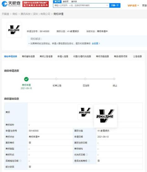腾讯申请注册鹅MAZING商标,商标注册申请中要多久?