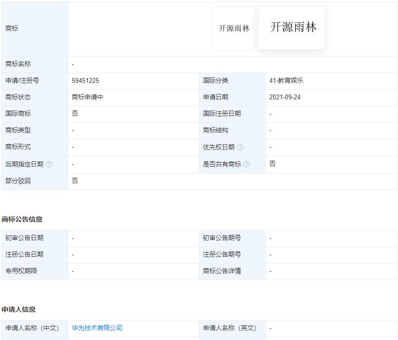 """华为申请""""开源雨林""""商标,商标注册申请实行什么原则?"""