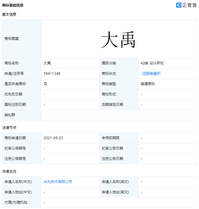 """华为申请""""大禹""""商标,历史人名可以注册商标吗?"""