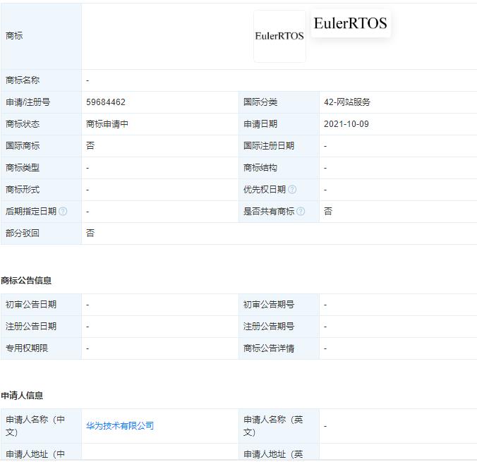 """华为注册申请""""EulerRTOS""""商标,企业什么时候申请商标最合适?"""